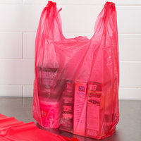 1/6 Size .51 Mil Red Unprinted Embossed T-Shirt Bag - 1000/Case