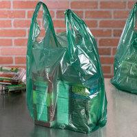 1/6 Size .51 Mil Green Unprinted Embossed T-Shirt Bag - 1000/Case
