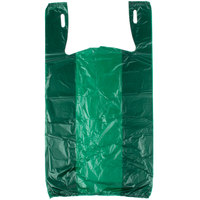 1/6 Size .51 Mil Green Unprinted Embossed T-Shirt Bag   - 1000/Case