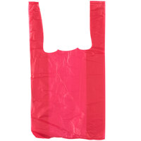 1/10 Size .55 Mil Red Unprinted Embossed T-Shirt Bag   - 1500/Case