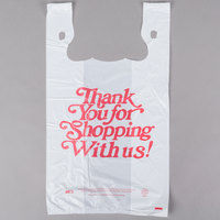13 inch x 8 inch x 23 inch .67 Mil White Thank You Heavy-Duty Plastic T-Shirt Bag   - 500/Case