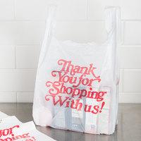 1/5 Size .67 Mil White Thank You Heavy-Duty Plastic T-Shirt Bag - 500/Case