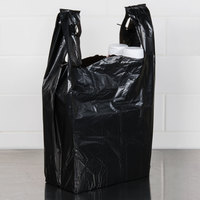 1/6 Size .67 Mil Black Unprinted Embossed Heavy-Duty Plastic T-Shirt Bag - 500/Case