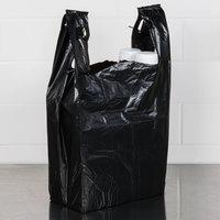 1/6 Size .67 Mil Black Unprinted Embossed Heavy-Duty Plastic T-Shirt Bag - 500/Case