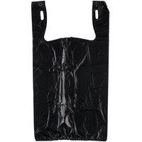 1/6 Size .51 Mil Black Unprinted Embossed T-Shirt Bag - 1000/Case