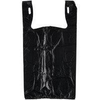 1/6 Size .51 Mil Black Unprinted Embossed T-Shirt Bag - 1000/Case