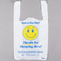 1/8 Size .51 Mil White Happy Face Plastic T-Shirt Bag   - 1000/Case