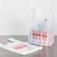 1/6 Size .59 Mil White Thank You Plastic T-Shirt Bag - 1000/Case