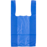 1/10 Size .55 Mil Blue Unprinted Embossed T-Shirt Bag - 1500/Case