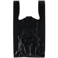 1/8 Size .63 Mil Black Unprinted Embossed Heavy-Duty Plastic T-Shirt Bag - 750/Case