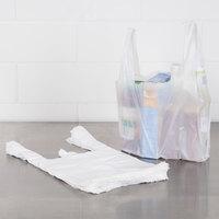 1/10 Size .55 Mil White Unprinted Embossed Plastic T-Shirt Bag - 1500/Case