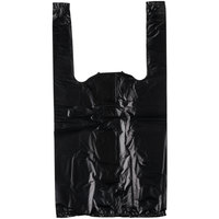 1/10 Size .55 Mil Black Unprinted Embossed Plastic T-Shirt Bag   - 1500/Case