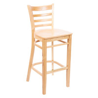 Lancaster Table & Seating Natural Finish Wooden Ladder Back Bar Height Chair