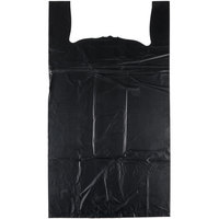 20 inch x 10 inch x 36 inch .87 Mil Black Unprinted Heavy-Duty Plastic T-Shirt Bag - 200/Case