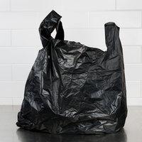 20 inch x 10 inch x 36 inch .87 Mil Black Unprinted Heavy-Duty Plastic T-Shirt Bag - 200/Case