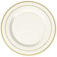 "Fineline Silver Splendor 507-BO 7"" Bone / Ivory Plastic Plate with Gold Bands - 15/Pack"