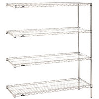 Metro AN326C Super Erecta Adjustable Chrome Wire Stationary Add-On Shelving Unit - 18 inch x 30 inch x 63 inch