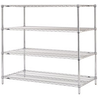 Metro N366C Super Erecta Adjustable Chrome Wire Stationary Starter Shelving Unit - 18 inch x 60 inch x 63 inch