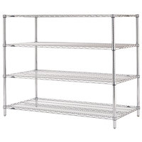 Metro N376C Super Erecta Adjustable Chrome Wire Stationary Starter Shelving Unit - 18 inch x 72 inch x 63 inch