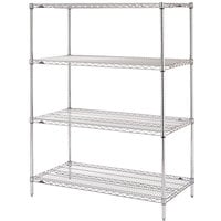 Metro N416C Super Erecta Adjustable Chrome Wire Stationary Starter Shelving Unit - 21 inch x 24 inch x 63 inch