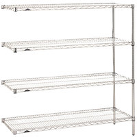 Metro AN346C Super Erecta Adjustable Chrome Wire Stationary Add-On Shelving Unit - 18 inch x 42 inch x 63 inch