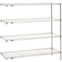 Metro AN356C Super Erecta Adjustable Chrome Wire Stationary Add-On Shelving Unit - 18 inch x 48 inch x 63 inch
