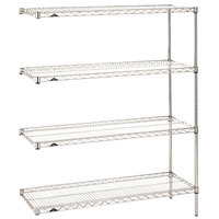 Metro AN316C Super Erecta Adjustable Chrome Wire Stationary Add-On Shelving Unit - 18 inch x 24 inch x 63 inch