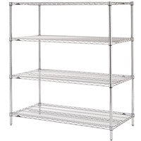 Metro N446C Super Erecta Adjustable Chrome Wire Stationary Starter Shelving Unit - 21 inch x 42 inch x 63 inch