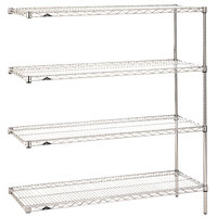 Metro AN436C Super Erecta Adjustable Chrome Wire Stationary Add-On Shelving Unit - 21 inch x 36 inch x 63 inch