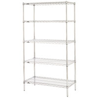 Metro 5N437C Super Erecta Adjustable Chrome Wire Stationary Starter Shelving Unit - 21 inch x 36 inch x 74 inch