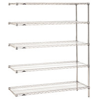 Metro 5AN457C Super Erecta Adjustable Chrome Wire Stationary Add-On Shelving Unit - 21 inch x 48 inch x 74 inch