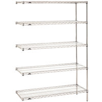 Metro 5AN427C Super Erecta Adjustable Chrome Wire Stationary Add-On Shelving Unit - 21 inch x 30 inch x 74 inch