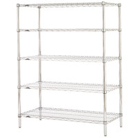 Metro 5N477C Super Erecta Adjustable Chrome Wire Stationary Starter Shelving Unit - 21 inch x 72 inch x 74 inch
