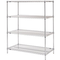 Metro N526C Super Erecta Adjustable Chrome Wire Stationary Starter Shelving Unit - 24 inch x 30 inch x 63 inch