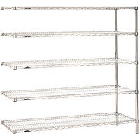 Metro 5AN477C Super Erecta Adjustable Chrome Wire Stationary Add-On Shelving Unit - 21 inch x 72 inch x 74 inch