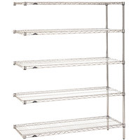Metro 5AN347C Super Erecta Adjustable Chrome Wire Stationary Add-On Shelving Unit - 18 inch x 42 inch x 74 inch