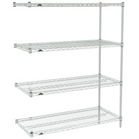 Metro AN346BR Super Erecta Brite Adjustable Wire Stationary Add-On Shelving Unit - 18 inch x 42 inch x 63 inch