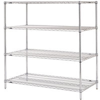Metro N556C Super Erecta Adjustable Chrome Wire Stationary Starter Shelving Unit - 24 inch x 48 inch x 63 inch