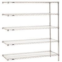 Metro 5AN567C Super Erecta Adjustable Chrome Wire Stationary Add-On Shelving Unit - 24 inch x 60 inch x 74 inch