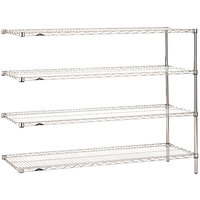 Metro AN576C Super Erecta Adjustable Chrome Wire Stationary Add-On Shelving Unit - 24 inch x 72 inch x 63 inch