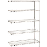 Metro 5AN417C Super Erecta Adjustable Chrome Wire Stationary Add-On Shelving Unit - 21 inch x 24 inch x 74 inch