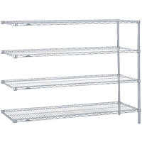 Metro AN376BR Super Erecta Brite Adjustable Wire Stationary Add-On Shelving Unit - 18 inch x 72 inch x 63 inch