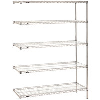 Metro 5AN537C Super Erecta Adjustable Chrome Wire Stationary Add-On Shelving Unit - 24 inch x 36 inch x 74 inch