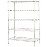 Metro 5N367C Super Erecta Adjustable Chrome Wire Stationary Starter Shelving Unit - 18 inch x 60 inch x 74 inch