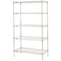 Metro 5N347C Super Erecta Adjustable Chrome Wire Stationary Starter Shelving Unit - 18 inch x 42 inch x 74 inch