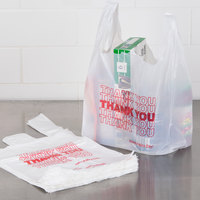 1/8 Size .51 Mil White Thank You Plastic T-Shirt Bag - 1000/Case
