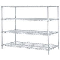 Metro N376BR Super Erecta Brite Adjustable Wire Stationary Starter Shelving Unit - 18 inch x 72 inch x 63 inch