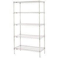 Metro 5N337C Super Erecta Adjustable Chrome Wire Stationary Starter Shelving Unit - 18 inch x 36 inch x 74 inch