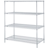 Metro N336BR Super Erecta Brite Adjustable Wire Stationary Starter Shelving Unit - 18 inch x 36 inch x 63 inch