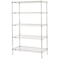 Metro 5N357C Super Erecta Adjustable Chrome Wire Stationary Starter Shelving Unit - 18 inch x 48 inch x 74 inch